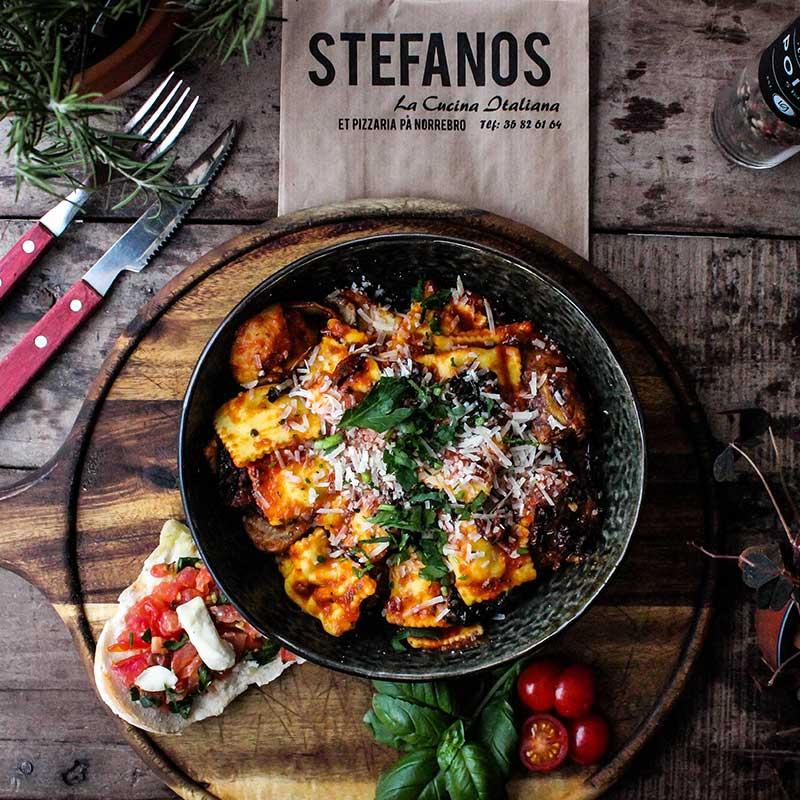 Stefanos Pizza Nørrebro og Østerbro Pasta Ravioli Vegetariana