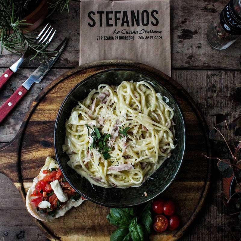 Stefanos Pizza Nørrebro og Østerbro Pasta Spaghetti Carbonara