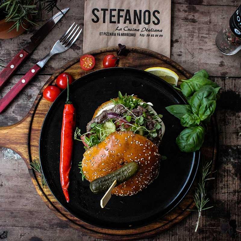 Stefanos Pizza Nørrebro og Østerbro Burger Menu Klassisk Okse